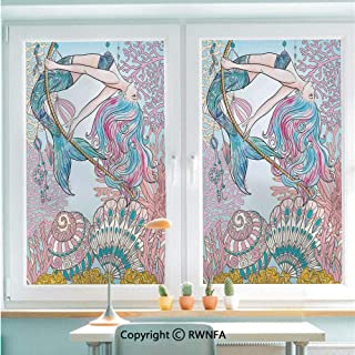 RWNFA Window Film No Glue Glass Sticker Cartoon Mermaid in Sea Sirens of Greek Myth Female Human with Tail of Fish Image Static Cling Privacy Decor for Kitchen Bathroom 22.8x35.4inches,Pink Blue