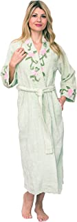 Bath & Robes Women's Long Embroided Chenille Bathrobe
