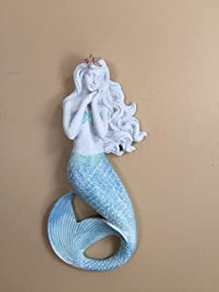 Gift Craft Mermaid Wall Decoration with Starfish in Hair. Blue Resin