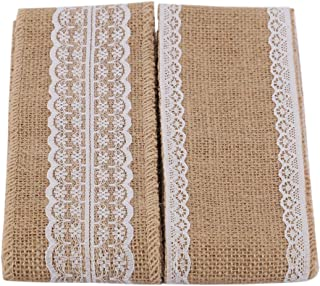 ITIsparkle Burlap Ribbon with White Lace Trims Tape 3