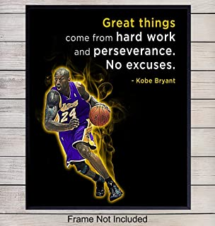 Kobe Bryant Motivational Quote Wall Art - 8x10 Basketball Photo Print - Gift for Hoops Team Coach, LA Lakers Fan, Entrepreneur, Teacher - Home and Office Decor, Boys Room, Teen Bedroom, Classroom