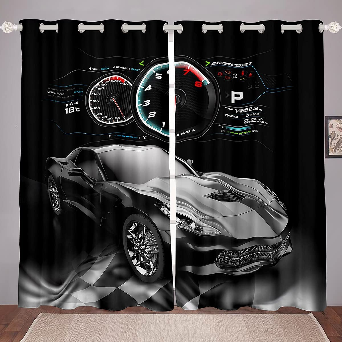 Feelyou Sports Car Curtains Max 69% OFF for Bedroom Black Curtain Speed Columbus Mall