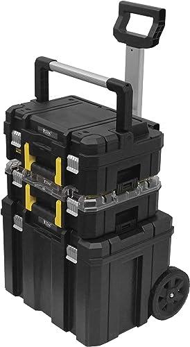 Stanley FMST1-80103 Tour Tstak/PRO-STACK Mobile 3 Éléments Gamme FatMax - Organiseur 7 Compartiments -Mallette 14L - ...