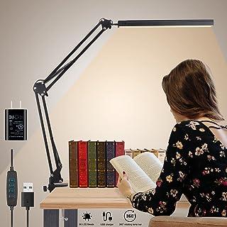 LED Desk Lamp, HugeHard Metal Swing Arm Desk Lamp with Clamp, 15W Dimmable Architect Desk Light, 3 Color Modes 10 Adjustab...