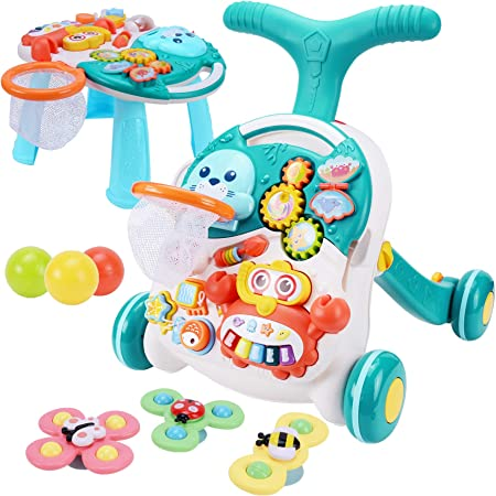 Meryi Sit-to-Stand Walker with Activity Center – Multifunctional Baby Push Walker with Interactive Learning Table– Early Learning Infant Walker for Toddlers, Kids 12-18 Months – Adjustable Wheel Speed