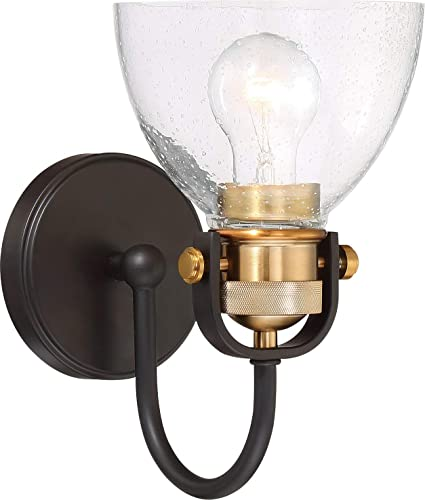 "2021 Minka-Lavery 3361-416 online sale Monico Wall popular Sconce, 1-Light 100 Watt (11""H x 7""W), Painted Bronze with Brass online sale"