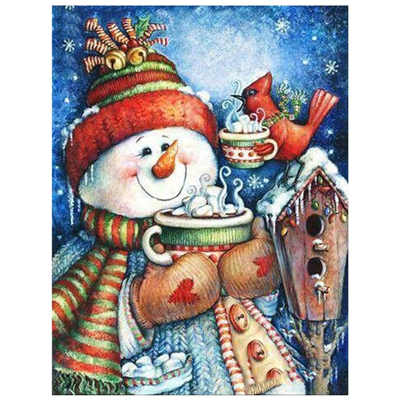 Golden Panno Diamond Painting Christmas Halloween House Decoration Snowman Bird Cup Tea Gift Full Square Resin Rhinestone Diamond Needlework Handcraft Multi-Size (Picture Size46x60cm)