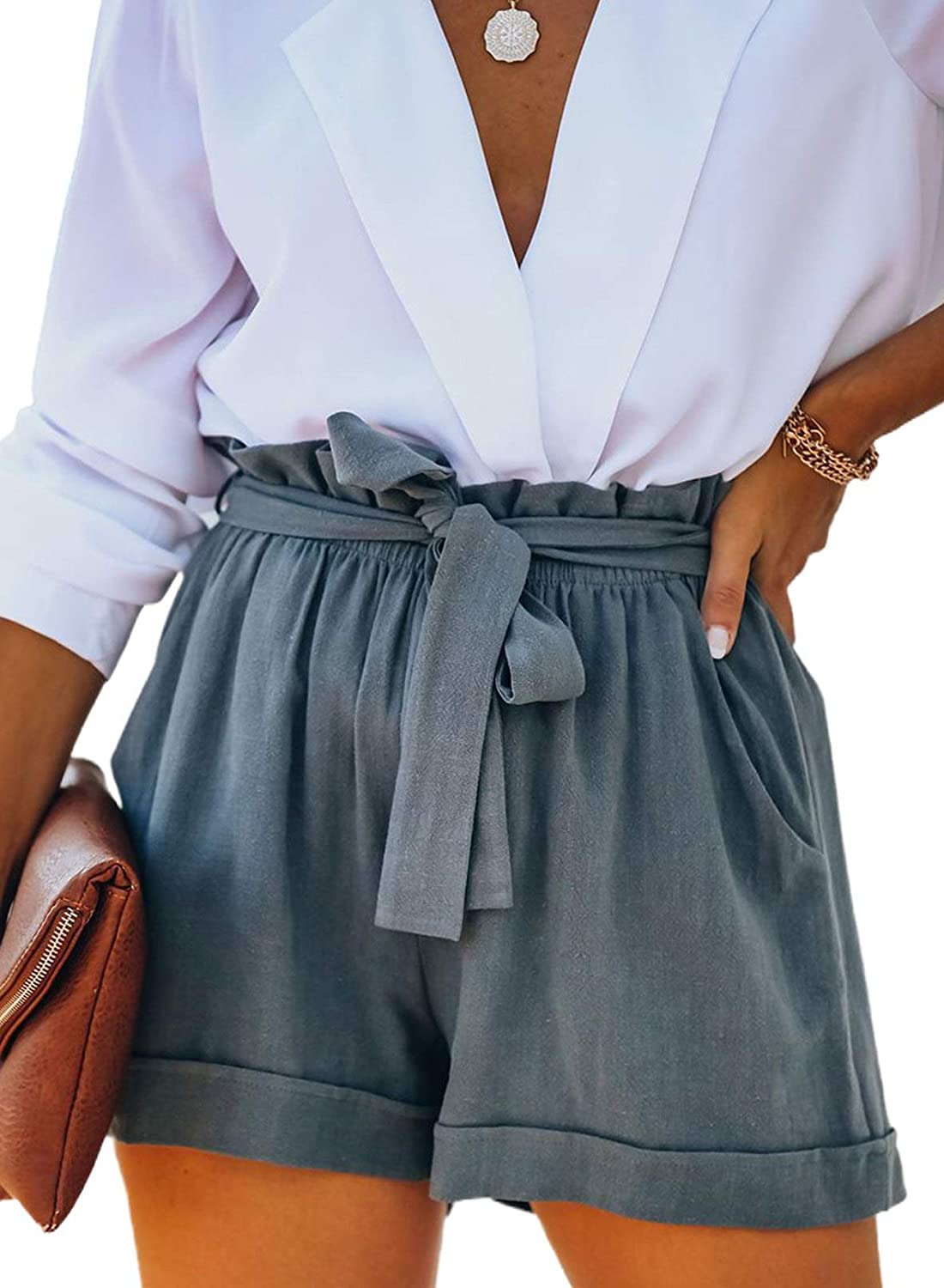 Bdcoco Womens Casual Drawstring Elastic Waist Solid Cotton Linen Shorts with Pockets