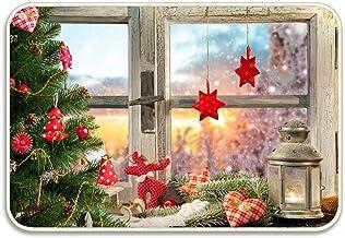 Printed Floor Mat Bath Mat Machine Washable Christmas Window Welcome Doormat Indooreasy Clean Cute Floor Rug Doormat for E...