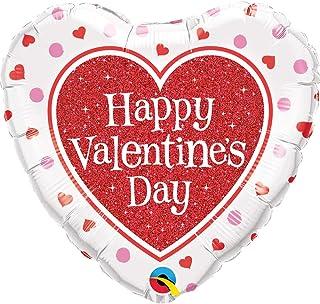 "Qualatex Valentine's Red Glitter Heart Mylar Party Foil Balloon, 18"", Multicolor"