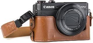 MegaGear Estuche Ever Ready Media Funda Estuche de Base Funda de Cuero de Pronto Uso con Correa Compatible con Canon PowerShot G7 X Mark II