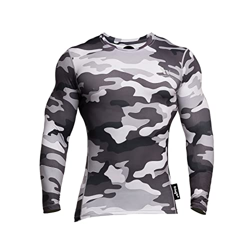 ba2a43a3 Fringoo Men's Long Sleeve Compression Top Workout Thermal T-Shirt Skin Fit  Base Layer Fitness