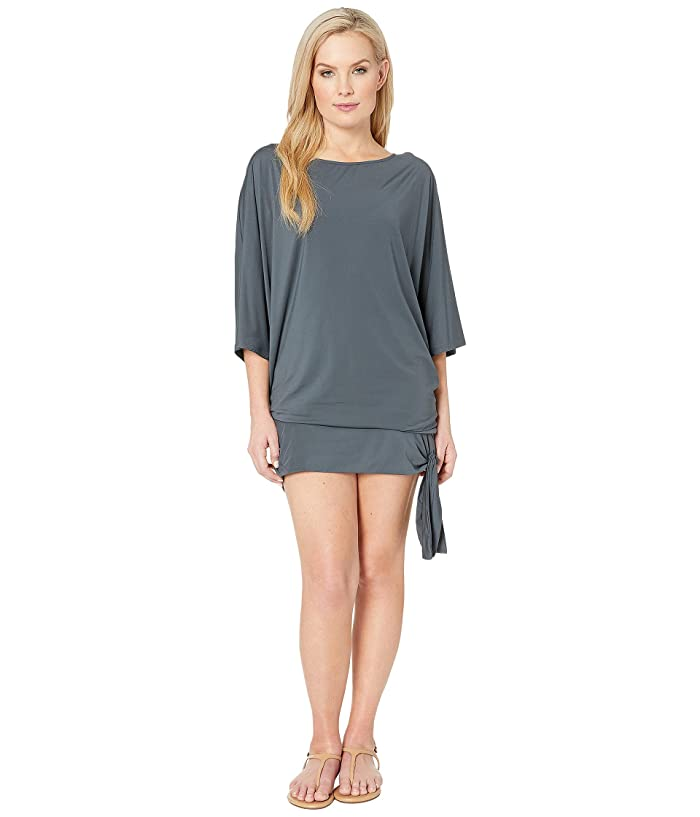 MICHAEL Michael Kors Iconic Solids Side Tie Cover-Up (Gunmetal) Women