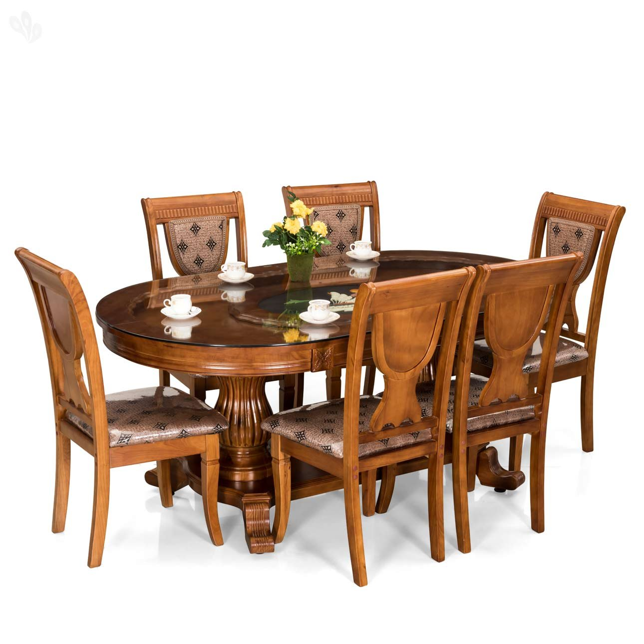 Royal Oak Titan Dining Set with Six Chairs Brown  Amazon.in ...
