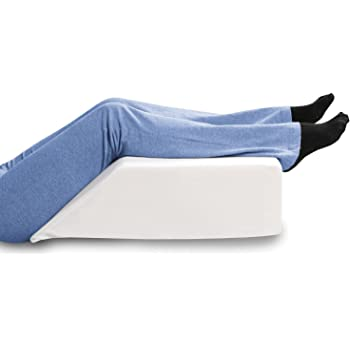 "SUPPORT PLUS Elevated Leg Wedge Support Pillow -Relieves Back/Sciatica Pain, Surgical or Injury Recovery, Improves Circulation, Helps Reduce Leg/Ankle Swelling -Premium Memory Foam 17"" Wide"