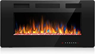 Joy Pebble 36 Inches Electric Fireplace, in-Wall Recessed and Wall Mounted 750/1500W Fireplace Heater, Touch Screen, Remote Control with Timer, Black