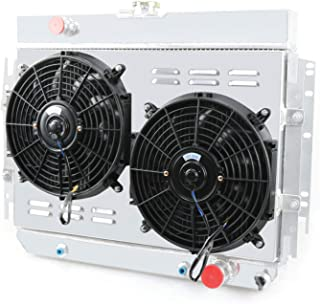 CoolingCare 3 Row Radiator+ Shroud+ 2x12''Fan for 1963-1968 Chevy Bel-Air/Impala/Biscayne/Caprice