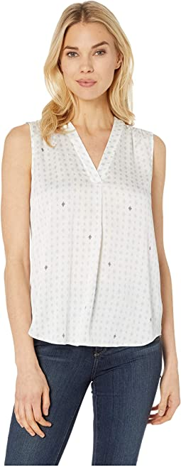 Sleeveless V-Neck Geo Accents Blouse
