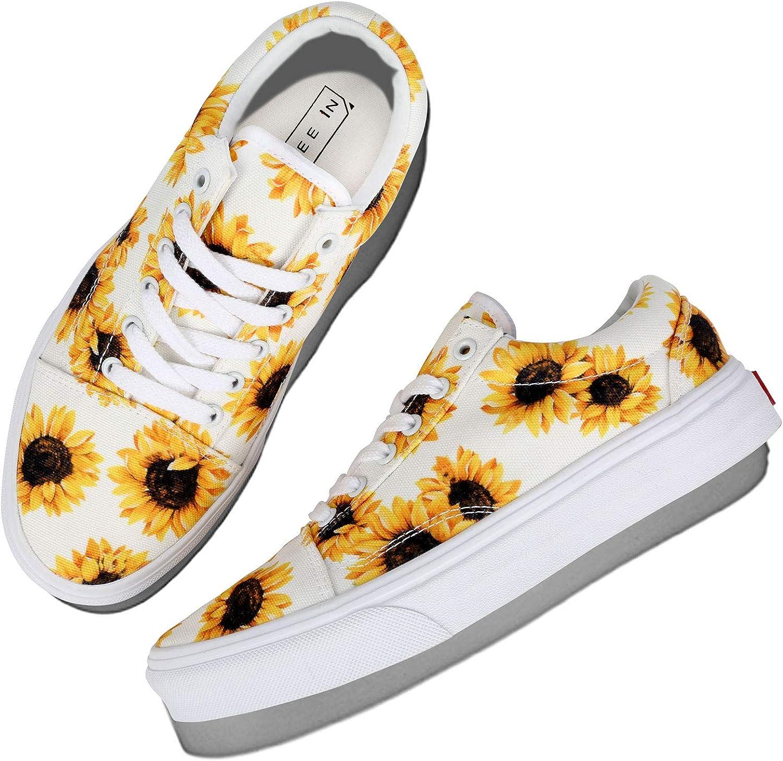 flySpacs Cute SunflowerCheckboard Super beauty product restock Rapid rise quality top Sneaker Fashion Women Slip-On