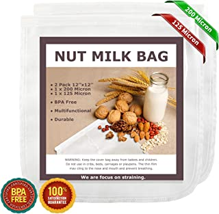 """Nut Milk Bags, 12""""x12"""", 2 Pack, Reusable Nylon Food Strainer, Multi-use Food Grade Filter for Almond Milk, Juice, Cheese, Tea, Cold Brew Coffee(1x200 Micron & 1x125 Micron)"""