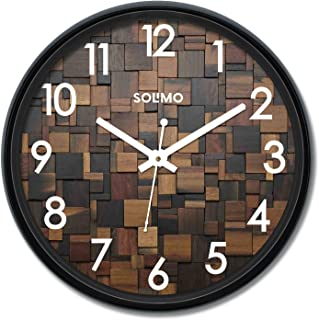 Amazon Brand - Solimo 12-inch Wall Clock - Wood Craft (Silent Movement)