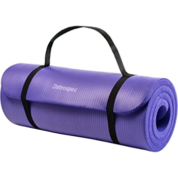 "Retrospec Solana Yoga Mat 1/2"" & 1"" Thick w/ Nylon Strap for Men & Women - Non Slip Excercise Mat for Yoga, Pilates, Stretching, Floor & Fitness Workouts"