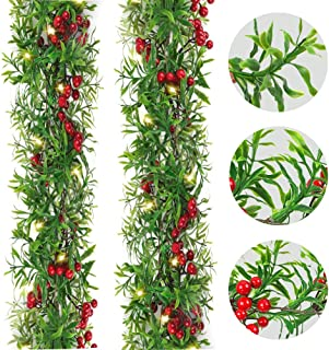 Whonline 6.56ft Christmas Garland with Lights, Red Berries Garland Indoor Outdoor Winter Christmas Decorations