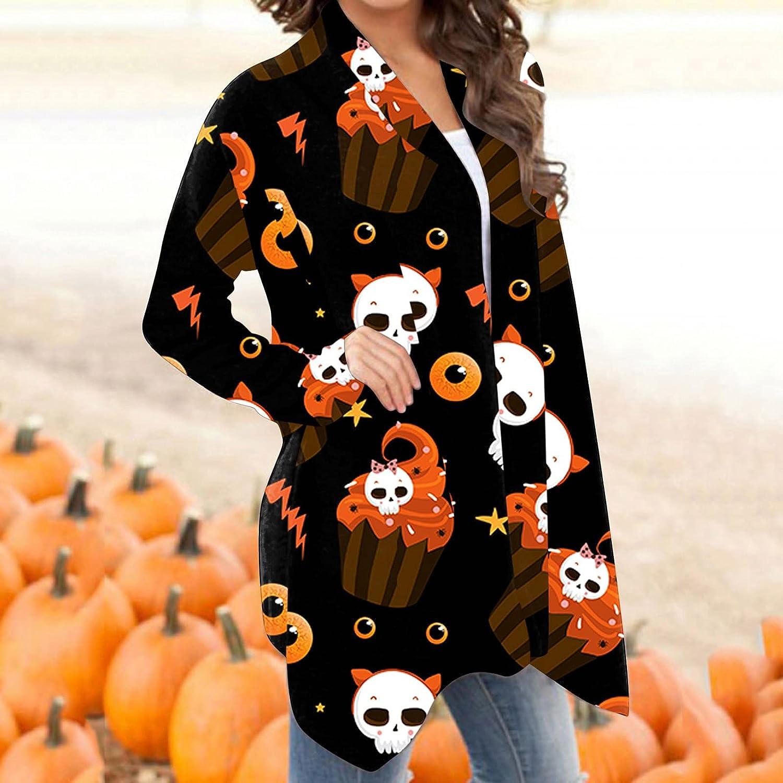 Women's Open Front Halloween Cardigan Long Sleeves Shrugs Funny Cute Pumpkin Skull Print Graphic Blouse Lightweight Coats