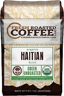 Fresh Roasted Coffee LLC, Green Unroasted Haitian Blue Coffee Beans, USDA Organic, Direct Trade, 5 Pound Bag