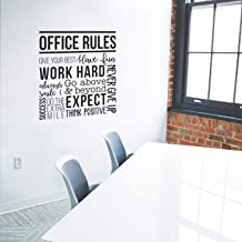 Vinyl Wall Art Decal - Office Rules Give Your Best Work Hard Never Give Up Think Positive - 40