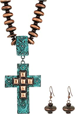 M&F Western Copper Beaded Cross Necklace/Earrings Set