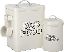 Caja de almacenamiento para comida de perros de estilo vintage clásicoCrazyGadget® decolor crema.