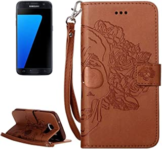 Protective Case Compatible with Samsung Compatible Samsung Galaxy S7 / G930 Crazy Horse Texture Skull Printing Horizontal Flip Leather Case with Holder & Card Slots & Wallet & Lanyard Phone case