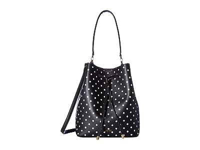 LAUREN Ralph Lauren Dryden Polka Dot Print Debby Drawstring (Black/Optic White) Handbags