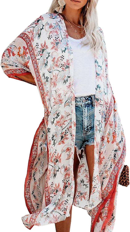 MayBuy Women's Summer Long Flowy Kimono Cardigans Boho Chiffon Floral Beach Cover Up Tops