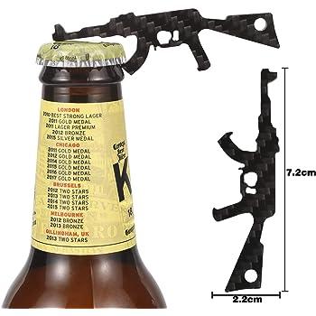 CRMPro Carbon Fiber Bottle Opener 2 Pack, Ultralight Keychain Bottle Openers for Outdoor Campaign Bar Restaurant, Portable Wine Opener Best Gift for Men Soldier