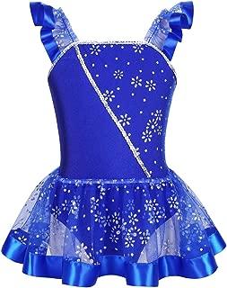 ranrann Kids Girls Sleeveless Halter Shiny Rhinestone Modern Ballet Dance Mesh Tutu Dress Figure Ice Skating Gymnastics Leotard