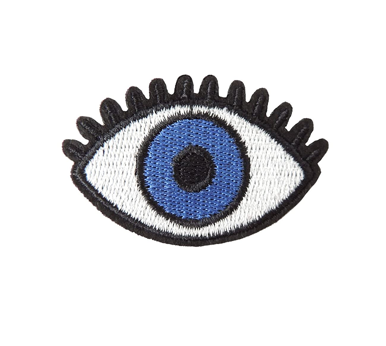 2 eye patch, blue eye, EVIL EYE, small embroidered iron on R002