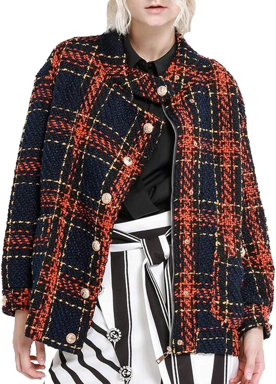 Jxfd Women's Thicken Warm Long Sleeve Windowpane Tweed Jacket
