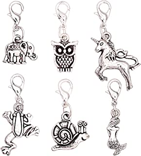 Ascrafter Cute Animal Zipper Pull Charms - Set of 6 - Knitting Stitch Markers, Crochet Markers, Purse Charms