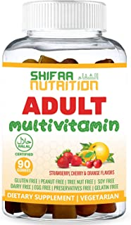 SHIFAA NUTRITION Halal & Vegetarian Gummy Multivitamin For Women, Men, Adults | 11 Vitamins, Minerals, Antioxidants | Natu...