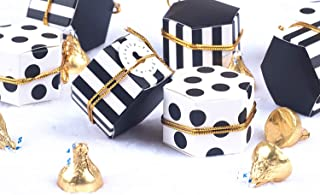 """Aimto Treat Boxes Hexagon Stripes Candy Boxes bulk Polka Dot Favor Boxes Small Goodie Boxes With Tags And Rope Black White For Baby Shower/Birthday/Wedding/Tea Party - 2""""x 2""""x 1""""-50Pcs"""