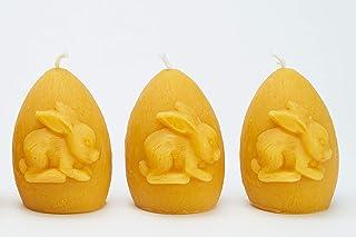 Imkerei Freese 3x Kerze Osterei mit Hase Höhe ca. 8cm aus 100% Bienenwachs vom Imker