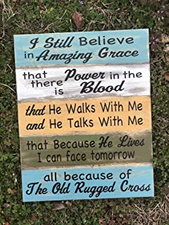 AIGUOQQ I Still Believe in Amazing Grace - Clean | Christian Signs | The Old Rugged Cross | He Walks with Me| Wood Signs | Décor