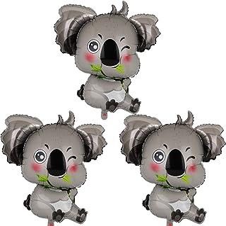 3 Pcs Koala Shape Mylar Foil Balloons Critter Woodland Themed Birthday Baby Shower Party Decors Supplies