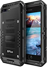 iPhone 8 Plus / 7 Plus Waterproof Case Heavy Duty with Built-in Screen Full Body Protective Shockproof Drop Proof Hybrid Hard Cover Military Outdoor Sport for Apple iPhone 8 Plus / 7 Plus (T-Black)