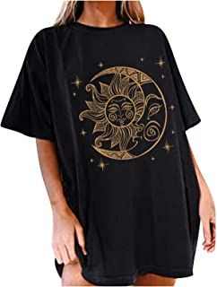 Riou T-Shirt da Donna Divertente Casual Oversize Taglie Forti Maglietta Maniche Corte con Stampa Luna di Sole,Modello Stel...