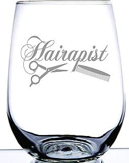Hairapist Stemless Wine Glass | Elegantly Stylish Glass for Hairdresser Stylist Barber Beautician | Men or Women | Laser Etching Creates Frosted Design