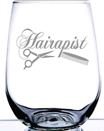 IE Laserware Hairapist Stemless wineglass for your favorite Hairdressers or Barber Etched Stemless Wine Glass