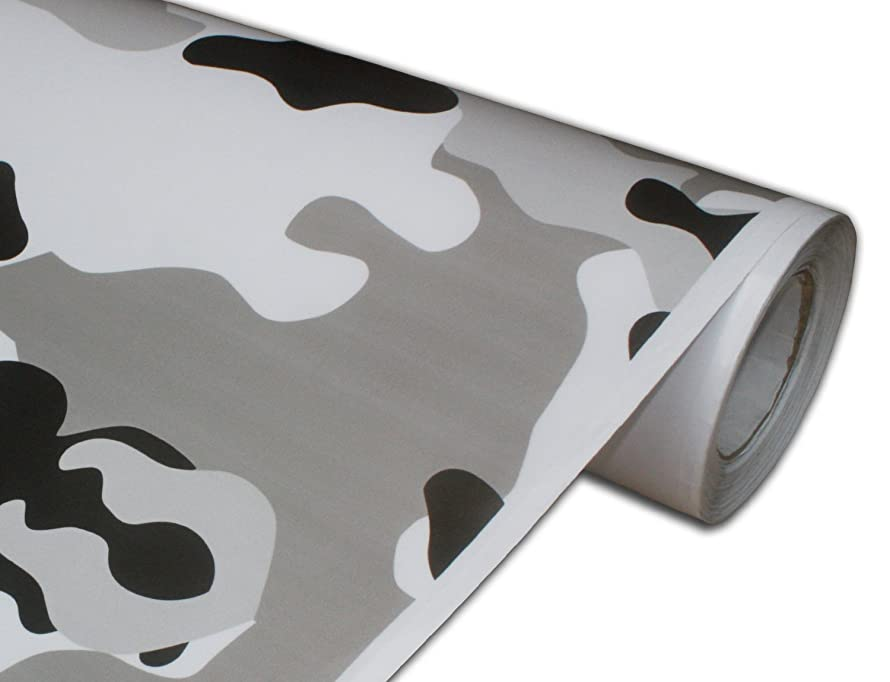 Hachi Auto Camouflage Camo Urban Snow Car Vinyl Wrap 12-by-60-inch